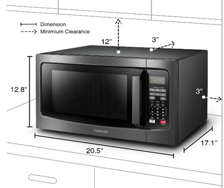 Toshiba Countertop Microwave Oven Dimensions