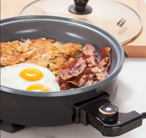 Round electric skillet